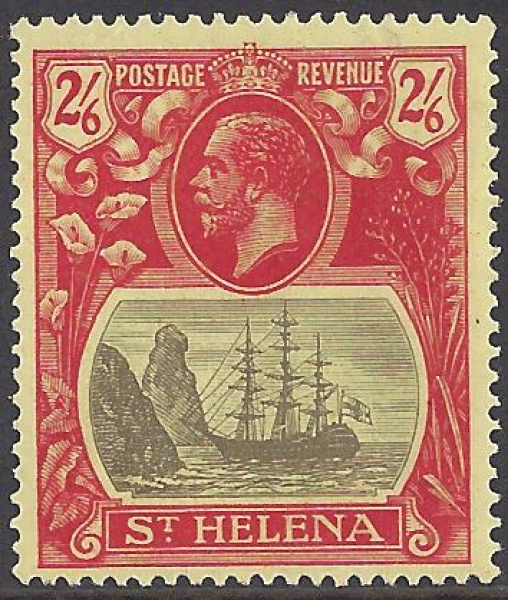 1922-37  St Helena SG.109a 2/6d grey & red/yellow.  'broken mainmast' variety LM/M