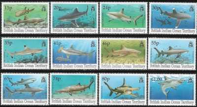 1994 British Indian Ocean Territory.  SG.155-66  Sharks set of 12 values U/M (MNH)