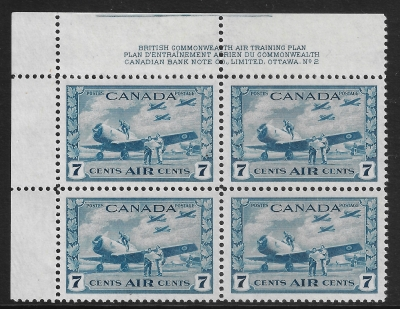 1943  Canada SG.400  7c blue block of 4 unmounted mint (MNH)