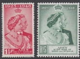 Aden /Shihr - Mukalla 1948 Royal Silver Wedding SG.14 - 15 u/m