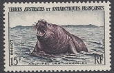 1956 French Antarctic 15f Southern Elephant Seal SG.12 u/m (MNH)