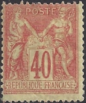 1877 France - SG.270 40c pale red/yellow TII (N under U) mounted mint