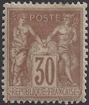1881 France - SG.237 30c yellow brown TII (N under U) lightly mounted mint.