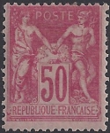 1900 France SG.285 50c carmine TI (N under B) lightly mounted mint.