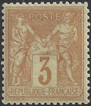 1878 France - SG.249 3c ochre/yellow TII (N under U) lightly mounted mint.