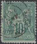 1876 France SG.231 10c green TII (N under U) very fine used.