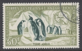 1956 French Antarctic - SG.16 50F Emperor Penguins & Snow petrel. very fine used.