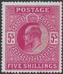 1902 Great Britain SG.263  5/- bright carmine U/M (MNH)
