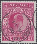 1902 Great Britain SG.263  5/- bright carmine fine used.