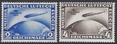 1930 Germany SG.456a/457a set 2 values First South American Flight of Graf Zeppelin inscribed '1.SUDAMERIKA FAHRT' U/M (MNH)
