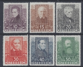 1931 Austria - SG.672-6  Austrian Writers & Youth Unemployment Fund set 6 values Unmounted Mint (MNH)