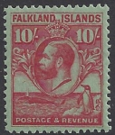 1929 Falkland Islands - SG.125 10/- carmine/emerald lightly mounted mint.