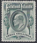 1904 Falkland Islands SG.49   KEVII 3/- green lightly mounted mint