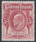 1904 Falkland Islands SG.50 KEVII 5/- red  lightly mounted mint.