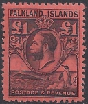 1929 Falkland Islands SG.126 £1 black/red lightly mounted mint.
