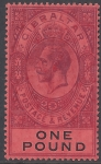 1912 Gibraltar. SG.85  KGV £1 dull purple & black/red. wmk crown CA. lightly mounted mint.