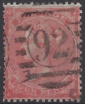 Great Britain 1862-4 -  SG.79 4d bright red  wmk. Large Garter good used.