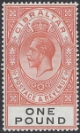 1927 Gibraltar.  SG.107 KGV.  £1 red-orange & black. lightly mounted mint.