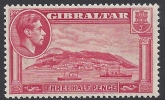 1938-51 Gibraltar. SG.123a  KGVI.1½d carmine perf 13½ lightly mounted mint.