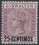 1889 Gibraltar  SG.17b 25c on 2d brown-purple 'broken N' variety very lightly mounted mint.