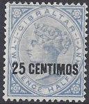 1889 Gibraltar  SG.18b 25c on 2½d bright blue 'broken N' variety  lightly mounted mint.