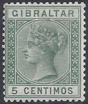 1889 Gibraltar SG.22a 5cent green 'broken M' variety. lightly mounted mint.