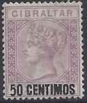1889 Gibraltar  SG.20a  50c on 6d  bright lilac.  '5' short foot variety.   lightly mounted mint.