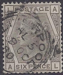 Great Britain  1880  SG.147 6d grey plate 17 fine used