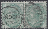 Great Britain 1874 SG.150 1/- green plate 9 pair fine used