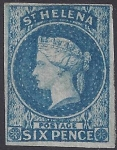 1856 St Helena. SG.1 6d blue imperf. 4 margin watermark large Star. superb example lightly mounted mint(see reverse)