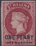 1863 St Helena. SG.3 1d Lake imperf 4 margin  'Type A' overprint. watermark Crown CC lightly mounted mint (see reverse)