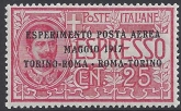 1917 Italy. SG.102 'AIR' 25c rose. overprinted M/M.