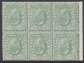 1906 DLR SG.218bw  ½d yellowish green. booklet pane of 6 inverted watermark. good perfs. u/m (mnh).
