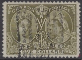 1897 Canada Jubilee issue SG.140 $5 olive green. lightly used with roller cancel.