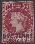 1864 St Helena SG.4 1d lake type B mounted mint.