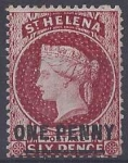 1868 St. Helena  SG.7 1d lake type B. perf 12½  mounted mint.