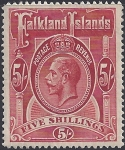 1912 Falkland Islands. SG.67  KGV.  5/- deep rose red.  mounted mint.