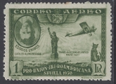 1930 Spain SG.650  1pts green Charles Lindbergh & Spirit of St Louis. Inverted Portrait.  Lightly MM.