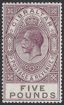 1925 Gibraltar. SG.108 £5 violet & black. - very lightly mounted mint. (see back).