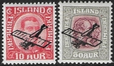 1928 -9 Iceland SG.156-7 King Christian X  'Air' overprints 2 values  U/M (MNH)