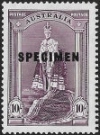 1938 Australia.  SG177s  10/- robes. 'Specimen' overprint. Lightly mounted mint.