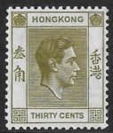 1938  Hong Kong  SG.151 30 cents yellow-olive Perf. 14x14  M/M