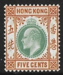 1904  Hong Kong  SG.79  5 cents dull green and brown-orange M/M