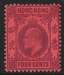 1904  Hong Kong  SG.78  4 cents purple/red M/M