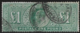 1902 Great Britain KEVII SG.266  £1 dull blue green fine used.