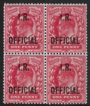 Great Britain  SGO21  1d scarlet overprinted I.R. OFFICIAL  block of 4 U/M (MNH)