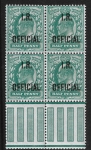 Great Britain  SG.O20  ½d blue-green  overprinted I.R. OFFICIAL  block of 4 with pillars  U/M (MNH)