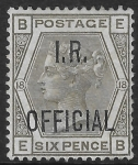 Great Britain SG.O4  6d grey overprinted I.R. OFFICIAL  very lightly mounted