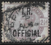 Great Britain  SG.O6  2½d lilac overprinted I.R. OFFICIAL  used