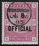 Great Britain  SG.O9  5s rose  overprinted I.R. OFFICIAL  used